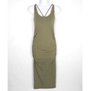 Michael Stars Midi Dress Green Reversible V Strap